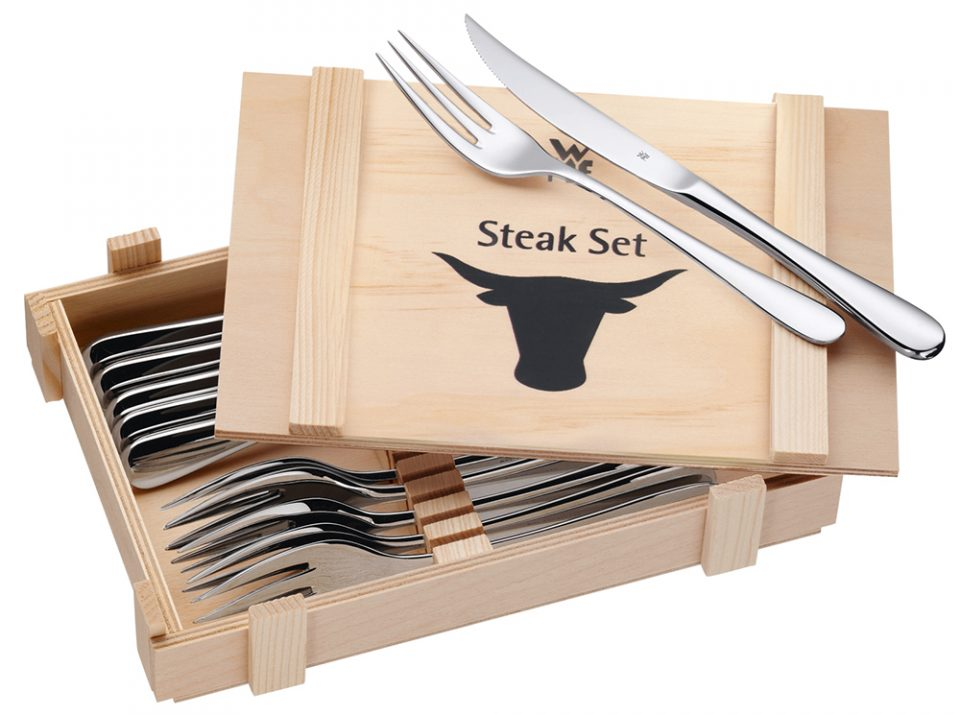 WMF Steakbesteck 12-teiligIn Holzkassette, Cromargan® Edelstahl Rostfrei 18/10, poliert