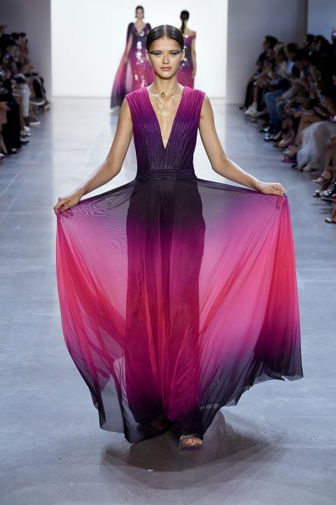 NEW YORK, NY - SEPTEMBER 06:  A model walks the runway for Tadashi Shoji during New York Fashion Week: The Shows at Gallery I at Spring Studios on September 6, 2018 in New York City.  (Photo by Frazer Harrison/Getty Images for Tadashi Shoji)