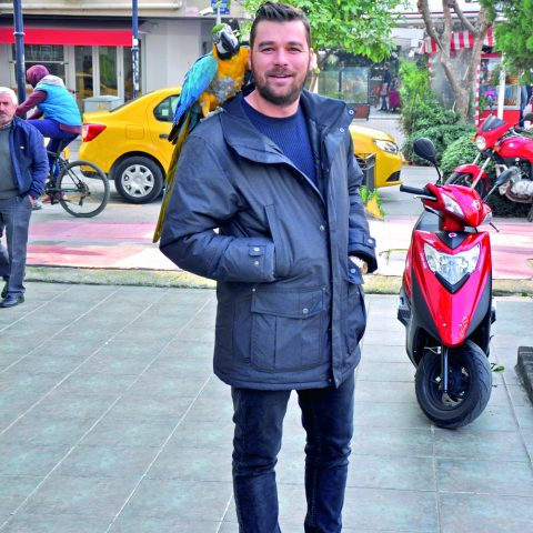 Altınkapı Restaurantları'nın sahibi Yiğit Altınkapı, Paşa isimli papağanı ile Alsancak'ta yürüyüş yaptı.