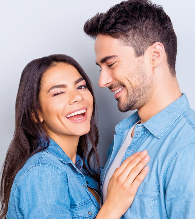 Close up portrait of caucasion lovely couple – smiling man with