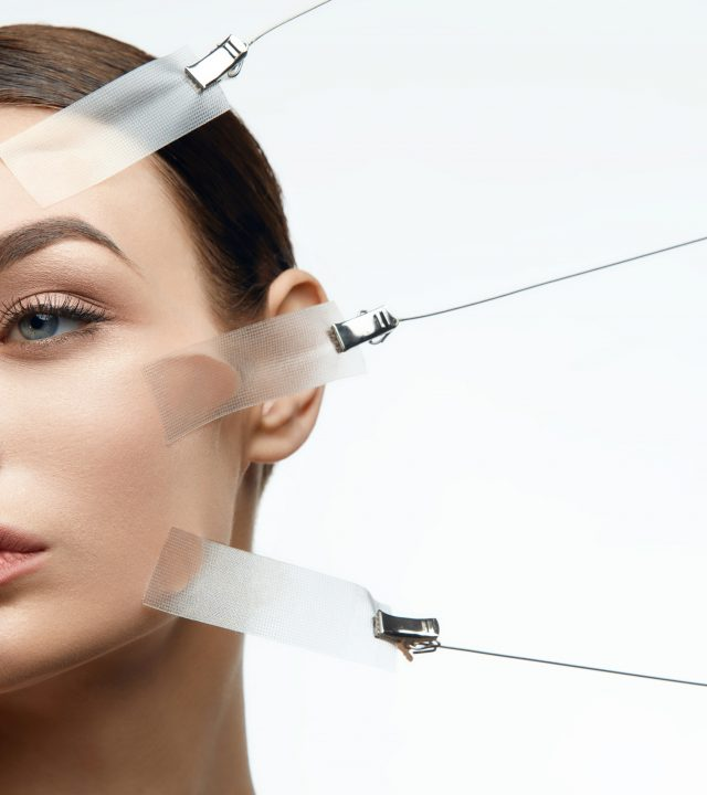 Beauty Woman Face During Face Skin Lift Treatment